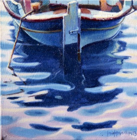 Just Resting - Santorini oil on canvas 150x150mm SOLD