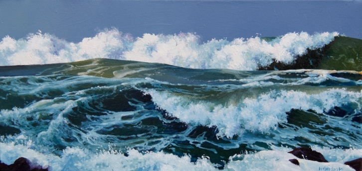 """Rising Tide"" - Houghton Bay, oil on canvas, 200x400mm, US$825"