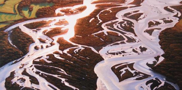 """A New Dawn"" - Waitaki River, oil on canvas, 550x750mm, US$3,015"