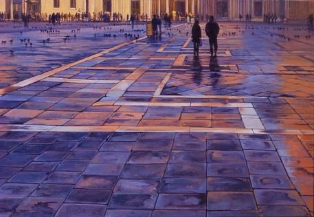 """""""Piazza San Marco"""" - Venice, oil on board, 600x900mm, SOLD"""