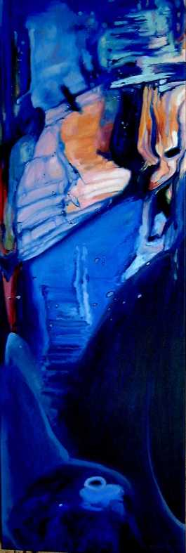 """""""Into the Blue"""" - oil on canvas, 90 x 30cm, SOLD"""
