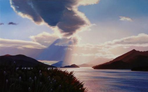 """Shadows and Light"" - Kenepuru, oil on canvas, 750x 1200mm, SOLD"