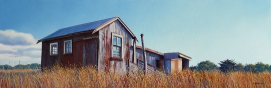 """""""Big Skies"""" - Wairarapa, oil on canvas, 300x900mm, US$2,950"""
