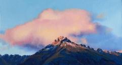 """First Light - Walter Peak"", oil on board, 37 x 20cm, US$595"