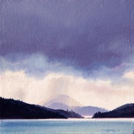 """Sounds and Light"" - Kenepuru Sound Marlborough Oil on canvas, 200x200mm, US$295"