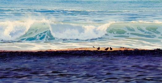 """Awakening and Surrender"" -Houghton Bay, Wellington, oil on canvas,100 x 50 cm, US$4,250,https://ianhamlin.co/2015/09/24/awakening-and-surrender"