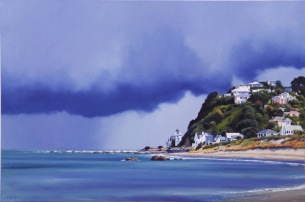 """""""Approaching Southerly"""" - Island Bay, Wellington, oil on canvas, 600x900mm, US$4,285"""