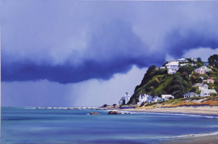 'Approaching Southerly' - Island Bay, oil on canvas, 60 x 90cm