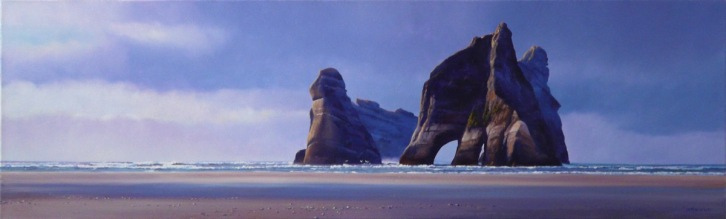 """Into the West"" - Wharariki, oil on canvas, 40 x120cm, US$3,795"