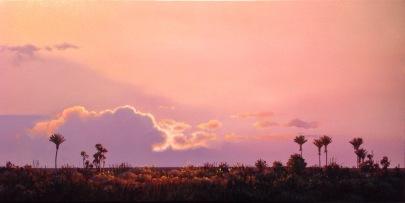 """Into the Light"" - Punakaiki West Coast, oil on canvas, 37 x 75 cm, US$2,965"
