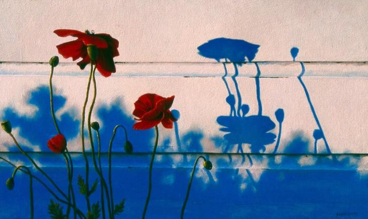 ANZAC Poppies, oil on board, 28.5x47cm