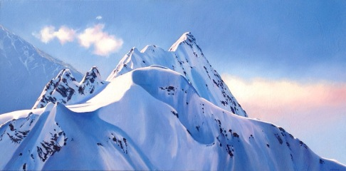 """Reach for the Sky"" Mt Cook, oil on canvas, 40x120cm, US$5,585"