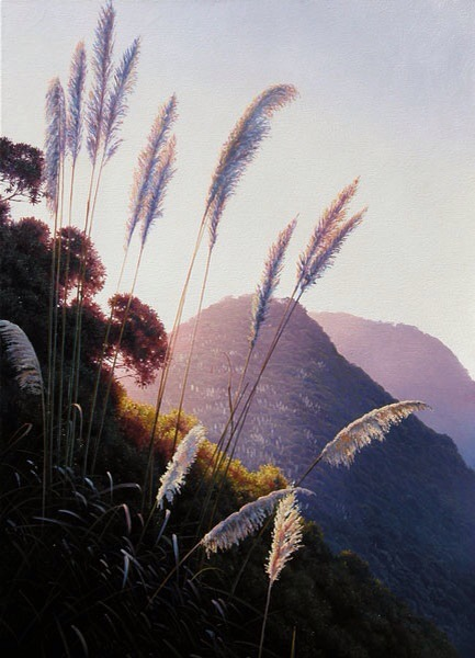 """Facing the Wind - Piha"" oil on canvas, 90x60cm, US$4,075,https://ianhamlin.co/2015/05/27/facing-the-wind"