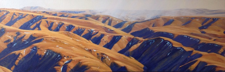 Drylands - St Mary's Range Central Otago, 30 x 90cm, SOLD