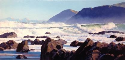 """Wild South"" Island Bay Wellington, oil on canvas, 25 x 51 cm, SOLD"