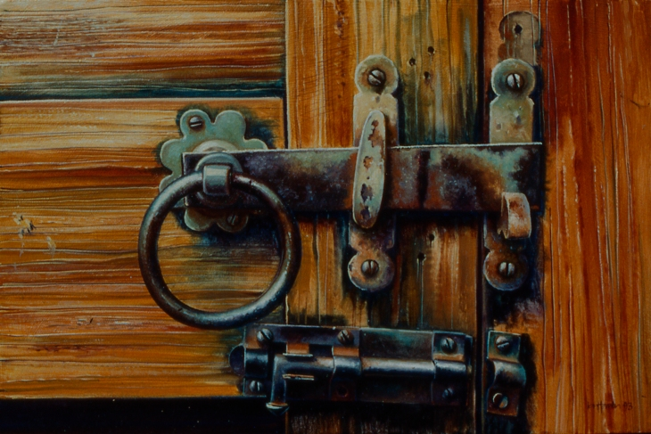"""A Sense of Security"" oil on board, 20 x 30cm, 1993"