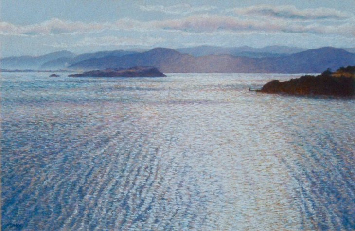 """September Sun"" - Wellington Harbour from Roseneath"", pastel on board, 460 x 710mm, 1990"