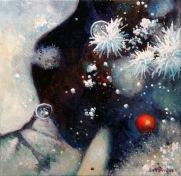 """On Ice"" - Bridgewater Canal, Cheshire UK, oil on canvas, 20x20cm, US$300,https://ianhamlin.co/2016/01/25/shout-of-joy/"