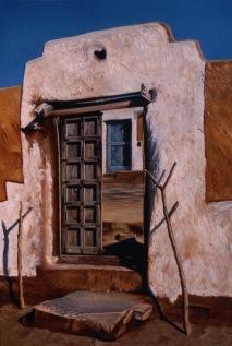 """Doorways to Another World"" Khuri Village Rajasthan India, oil on board, US$4,620,https://ianhamlin.co/2016/03/14/doorways-to-another-world/"