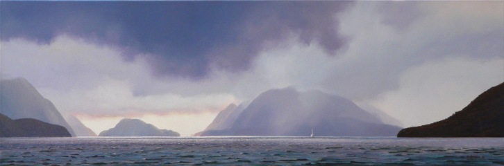 Midnight Marauders III, Doubtful Sound, oil on canvas, 300x900mm