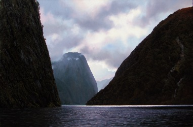 'Midnight marauders' Hall Arm Doubtful Sound, oil on canvas, 600x900mm