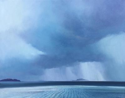 """A Sliver of Hope"" - Wellington Harbour, oil on canvas, 60 x 60cm, $3,500"