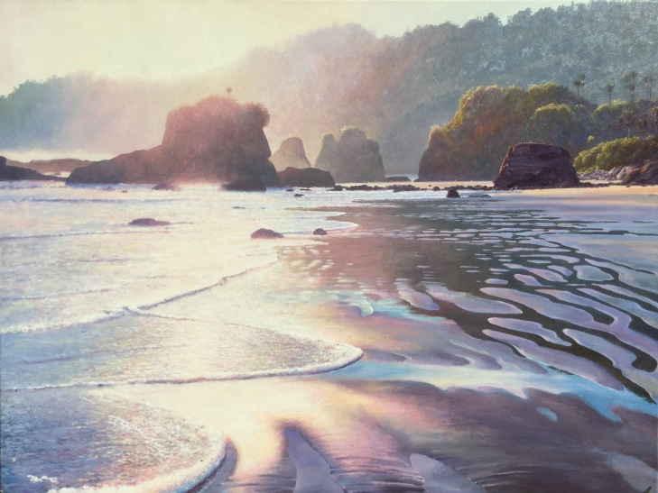 """Dawn Light"" - Woodpecker Bay, West Coast. Oil on canvas 75x100cm"